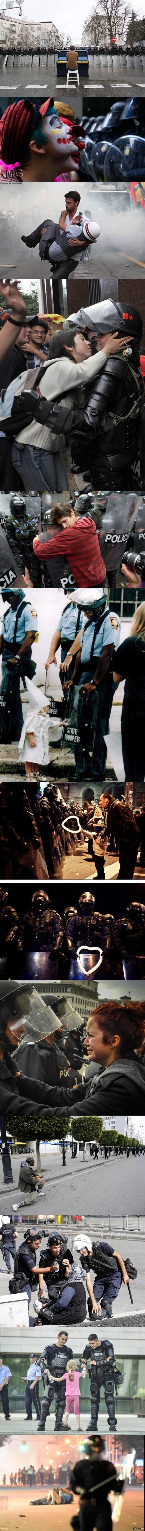 Make love, not war Длиннопост!   Серия трогательных фотографий с митингов, показывающие самые добрые человеческие чувства.