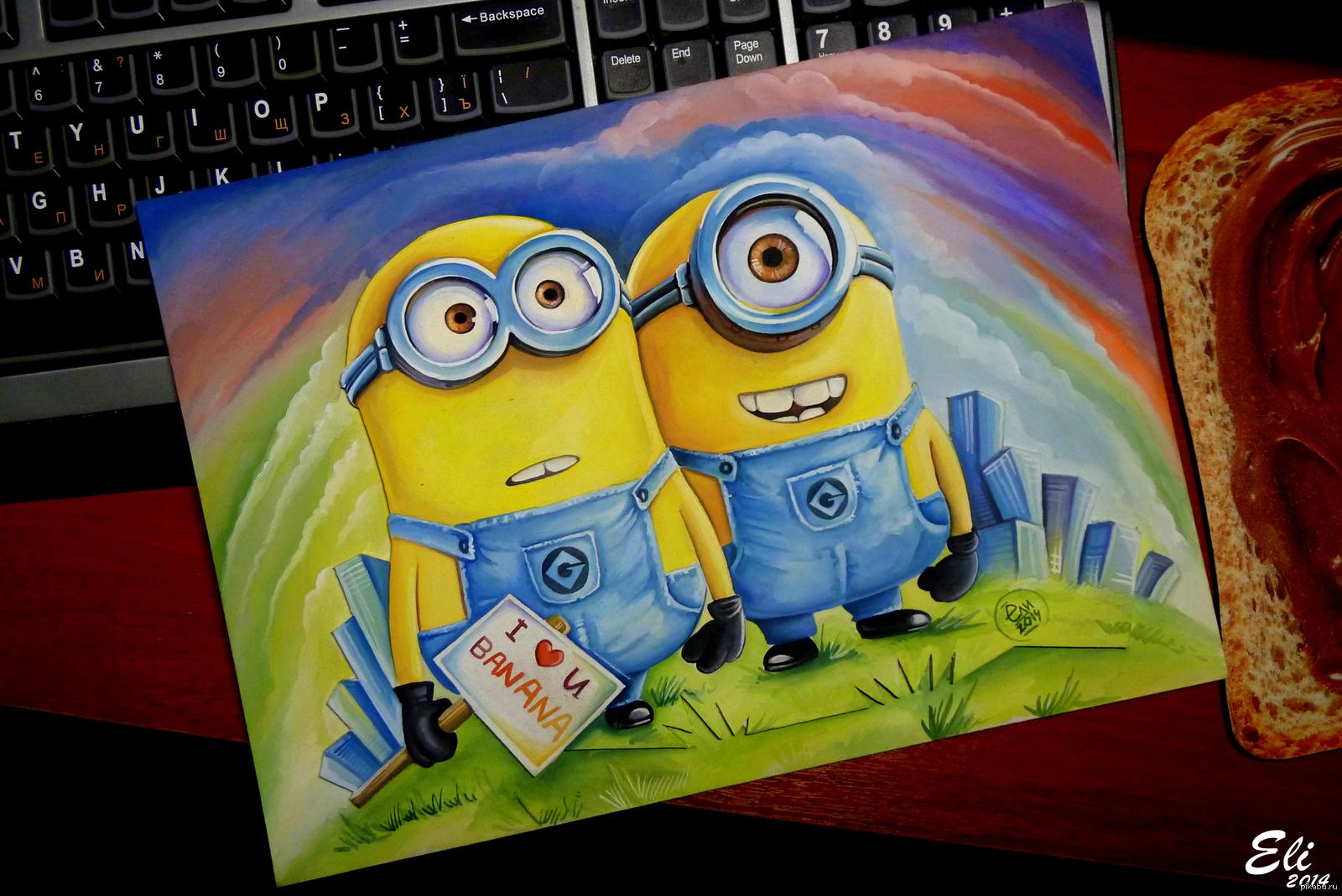 Прикольные картинки из мультиков для срисовки цветные, открытка