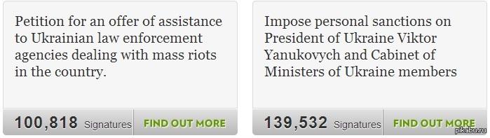 Петиции на сайте белого дома 1.Петиция об оказании помощи украинским правоохранительным органам 2.Наложить санкции против Президента Украины Виктора Януковича